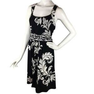 B2G1 WHBM Black/White Scroll Keyhole Tank Dress